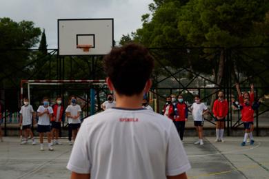 Detalle de la pista de baloncesto
